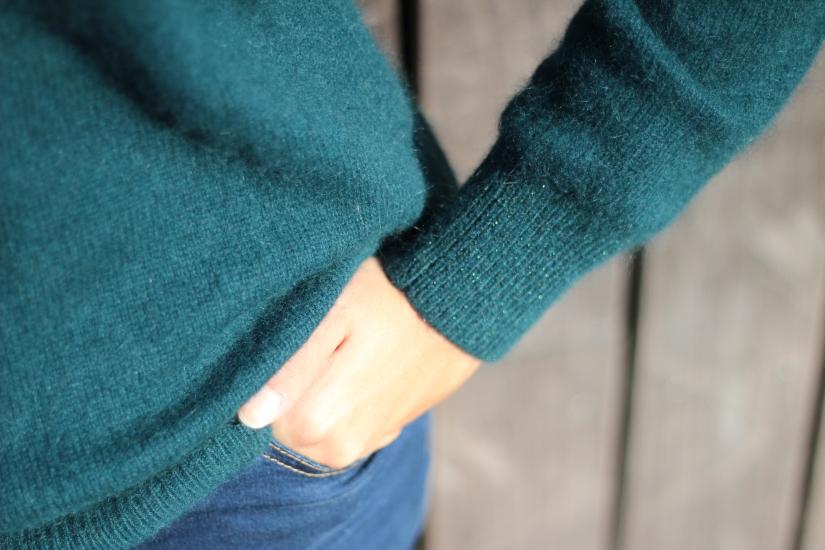 Pull 2 en 1 etam en mohair couleur paon blog mode dracipana Lille